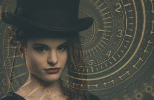Lady Time Lord in top hat in front of giant clock