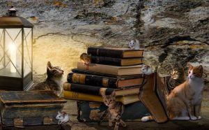 Cats and mice frolic among books by the light of an old-fashioned candle lantern.