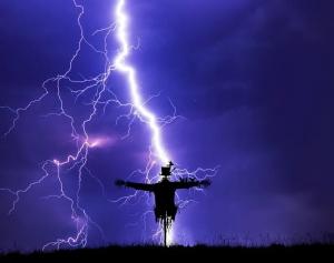 Lightning Striking Scarecrow